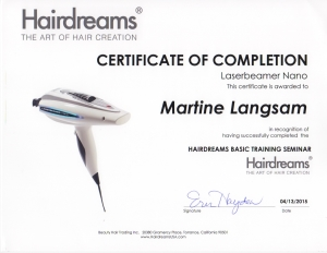 Hairdreams Laserbeamer Nano Certification